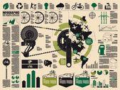 Bisiklet, ekoloji — Stok Vektör