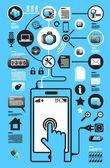 Iconos de los medios de comunicación y web — Vector de stock