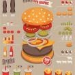 Hamburger & fast food info graphics — Stock Vector