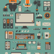Office set,vector background — Stockvektor