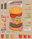Hamburger & fast food info graphics — Stock Vector