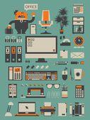 Office set,vector background — Stock Vector