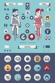 Iconos de bicicleta — Vector de stock