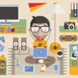 Vector geek surrounded by technology — Stock Vector #38294833