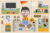 Vector geek surrounded by technology — Stock Vector