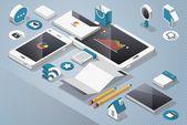 Vector mock up, technology elements — Stock Vector