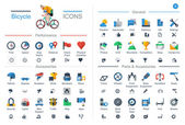 Flat style bicycle icons, — Vector de stock