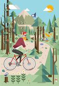 Hipster in the nature, vector background — Stock Vector