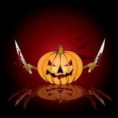 Halloween background with killer pumpkin — Stock Vector