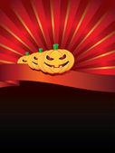 Fond d'Halloween avec des citrouilles sur ruban — Vecteur