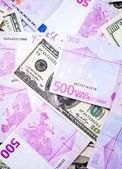 美元和欧元纸币 — 图库照片