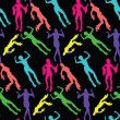 Dancer silhouettes in seamless pattern — Stock Vector