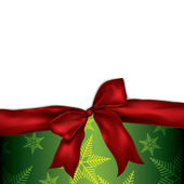Christmas background with red ribbon — Stock Vector