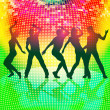 Stock Vector: Silhouettes of party people on colorful disco background