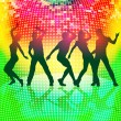 Silhouettes of party people on colorful disco background — Stock Vector