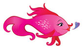 Female fish cartoon — Stock Vector