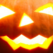 Halloween pumpkin with scary face close-up shot — Stock Photo