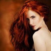Red Hair. Fashion Girl Portrait — Stock Photo