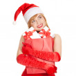 Stock Photo: Young happy xmas womwith gifts
