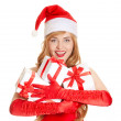 Young happy xmas woman with a gifts — Stock Photo