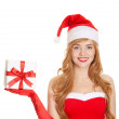 Stock Photo: Young happy xmas womholding gift