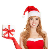 Young happy xmas woman holding gift — Stock Photo