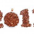 New Year 2013 made of coffee beans and cup on the white backgrou - Stock Photo