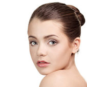 Close-up portrait of lovely caucasian young woman — Stock Photo