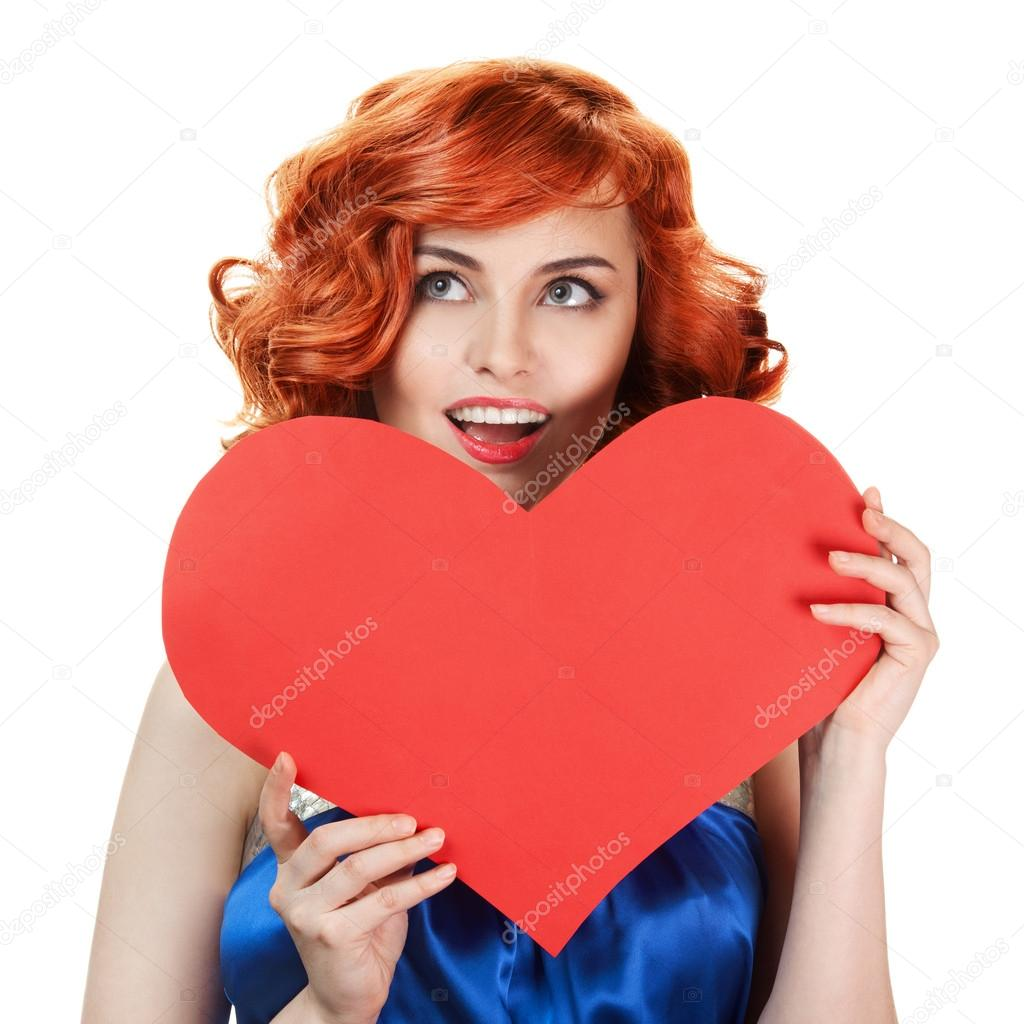 Valentines Day. Woman holding Valentines Day heart sign with copy space  — Stock Photo #14834973
