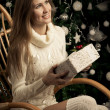 Beautiful woman with gift. Christmas decoration — Stock Photo