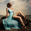 Portrait Of Fashion Woman In Blue Dress Outdoor — Stock Photo