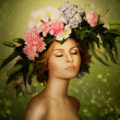 Elegance Fairy Woman In Flower Wreath — Stock Photo