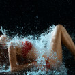Woman And Water Splash In Dark — Stock Photo