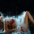 Woman And Water Splash In Dark — Stock Photo