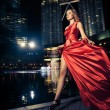 Fashion Lady In Red Dress And City Lights - Stock Photo