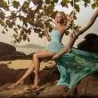 Beautiful Woman In Blue Fluttering Dress Swinging On A Beach Swi — Stock Photo