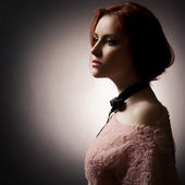 Fashion Lady On Dark Background — Stock Photo