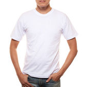 White t-shirt on a young man template isolated on white backgrou — Stock Photo