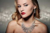 Fashion Portrait Of Beautiful Luxury Woman With Jewelry — Stock Photo