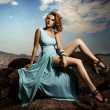 Portrait Of Fashion Woman In Blue Dress Outdoor — 图库照片