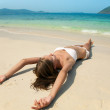 Young Pretty Woman Relax On Sand At Beach — Stock Photo