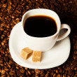 Cup coffee and beans — Stock Photo