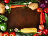 Frame Of Vegetables on a Wooden Table — Stock Photo