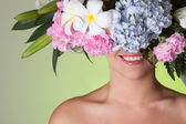 Beauty woman portrait with wreath from flowers on head — Stockfoto