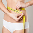 Woman measuring her waistline. Perfect Slim Body. Diet — Stock Photo #24736489