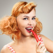 Beautiful Girl With Red Chilli Pepper In Pinup Style — Stock Photo