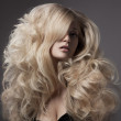 Stock Photo: Beautiful Blond Woman. Curly Long Hair