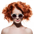 Fashion Woman With Sunglasses. Isolated — Stock Photo