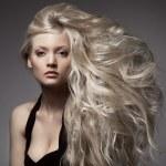 Beautiful Blond Woman. Curly Long Hair — Stock Photo