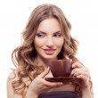 Woman with cup of coffee — Stock Photo